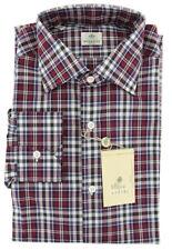 $450 Luigi Borrelli Burgundy Red Plaid Cotton Shirt - Extra Slim - 16.5/42 (1S)