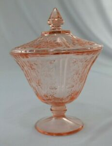Federal Glass Company Rose of Sharon Pink Covered Candy Dish