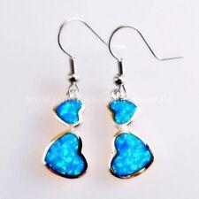 Elegante Blau Grüne Feueropal Herz an Herz Ohrhänger 925 rhodiniert 39 mm