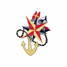 Anchor Compass (Iron on) Embroidery Applique Patch Sew Iron Badge