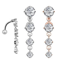Belly Button Ring 14G Surgical Steel Navel Ring CZ Dangle Body Piercing