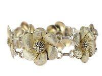 Original Theodor Fahrner Gold auf Silber Kordel Blumen Armband Art Déco 1950