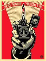 Obey Shepard Fairey SMOKE'EM WHILE YOU GOT'EM Fabric POSTER Wall Decoration 0125