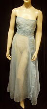 30s VINTAGE RUFFLED SHEER BLUE SWISS DOT GOWN w MATCHING SHAWL S