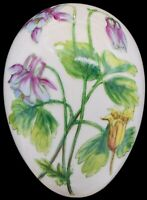 """Chamart Limoges France Hand Painted Purple Floral Egg Trinket Jewelry Box 4-3/4"""""""