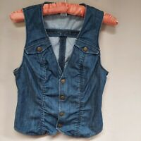 Lux Women's Denim Vest Button Front Sleeveless Jean Jacket V-neck Blue Sz Small