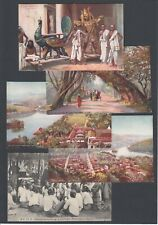 More details for five vintage printed postcards ceylon scenes views and people costumes pc
