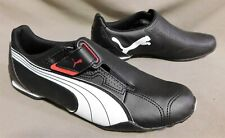 NWOB MENS PUMA BLACK LEATHER RACING DRIVING SHOE SIZE 9