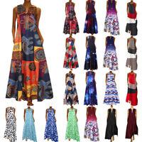 UK Womens Summer Kaftan Maxi Dress Casual Vintage Bohemian V Neck Long Dresses