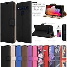 For TCL 10 Lite Case, Black Leather Book Wallet Stand Phone Cover + Screen Glass