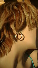 14K YELLOW GOLD HOOP HAMMERED EARRINGS 15/16""