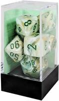 Dice Chessex Polyhedral 7 Die Set CHX27409 Dice in a clear plastic box