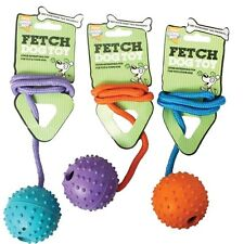 GOOD BOY DOG PUPPY 7.5 CM RUBBER STUDDED THROW CATCH BALL ON A ROPE TOY 08107