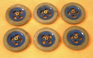 "6 MECCANO 2"" Blue Pulleys W/Gray Tires!"