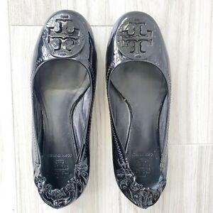 Tory Burch Reva Black Patent Leather Flats Size 5.5