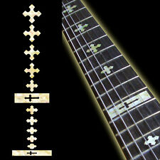 Fret Markers Inlay Sticker Decal Guitar & Bass Neck - Cross Aged White