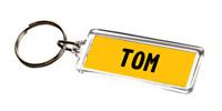 NUMBER PLATE KEYRING - Tom - Boy's Name Gift