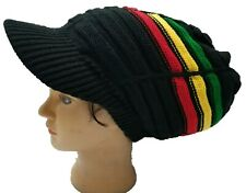Black Rasta Hat Dreadlocks Tam Crown Stripe Dreads Slouchy Natty Cap Locks M/L