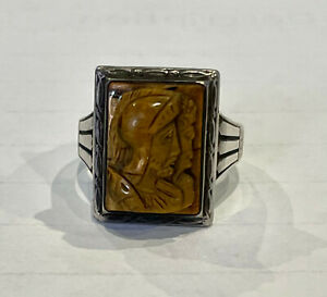 Men's Vintage Silver and Tiger Eye Ring - Cameo Roman Soldier