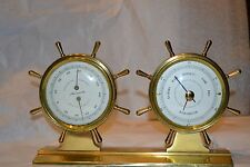 Vnt  2 Unit Desk Set AIRGUIDE Brass Nautical Design Temp/Barometer   #712101H
