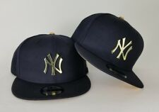New Era Navy Blue New York Yankee Gold Metal Badge Logo 9Fifty Snapback Hat
