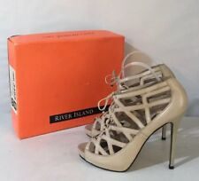 RIVER ISLAND Real Leather Nude Beige Lace Up Stiletto Heels Peep Toe ~UK 8~NEW