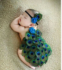 Newborn Baby Girls Crochet Knit Costume Photo Photography Prop Outfits Peacock&1