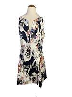 Portmans Size 12 Fit And Flare Dress Floral Print V - neck