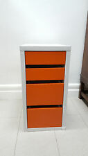Ikea small chest of drawers- orange and white. Bedside table.  Micke model.