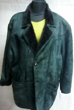 "Mens very smart real 100% soft lambskin coat racing green Chest 48"" length 36"""