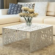 vidaXL Aluminum Coffee End Accent Bedside Side Living Room Table Square Silver