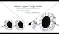 Ohrringe Ohrstecker Römische Ziffern Zahlen Bulgarien Luxus Edelstahl Silber Neu