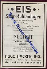 MÜNCHEN, Werbung / Anzeige 1925, Hugo Hacker Spezial-Baugeschäft Gefrierschränke