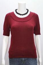 T Tahari Misses XS Merlot Wine Red Jewel Neck SS  Sweater Shirt Top