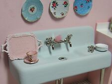 Miniature Dollhouse Furniture Blue Porcelain Farm Sink hand painted 1 in scale