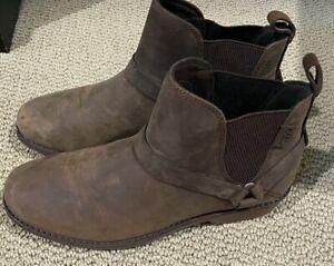 NEW Teva Ellery Chelsea Leather Women Waterproof Booties SIZE 8.5 DISTRESSED