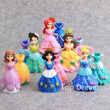 Lot 6 Princess Snow White Cinderella Aurora Belle Sofia PVC Action Figures