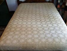 "Vintage Crochet Tablecloth Ecru Handmade 90""X75"" Bedspread Coverlet Scalloped"