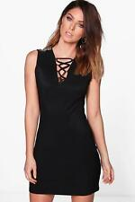 0809d457f33f Boohoo Aimee Embellished Lace Up Dress Black Size M/L LF089 KK 30