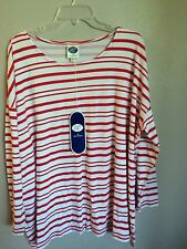 nwt..DG2 DIANE GILMAN..T SHIRT..M..WHITE/RED STRIPE..COTTON..SHIRT..LONG SLEEVES