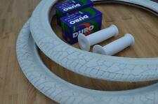 "New PAIR of 20"" BMX Bicycle Slick WHITE Street Tires & Tubes 20X1.95 *FREE GRIPS"