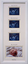 Unisex Triple 1st/2nd/3rd Baby Scan and First Photo Personalised Frame Gift