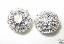 2 12mm Swarovski Pave Ball Beads Silver/Crystal AS11