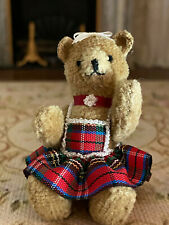 Vintage Miniature Dollhouse 1:12 Tartan Dress Artisan Jointed Teddy Bear Toy