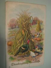 Vintage 1913 Original THANKSGIVING GREETINGS #11 Embossed Historic Postcard 215