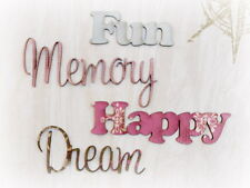 MEMORY FUN HAPPY DREAM x 4 words EaPk CHIPWOOD WORDS - 5-7cmLong & 2-4.5cmHigh