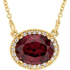 Granate Rhodolite & Diamante 40.6cm Collar en 14k ORO AMARILLO