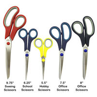 5 Piece Scissors Set Stainless Steel Comfort Grip Sewing Dress Hobby Crafts Tool