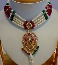 INDIAN BOLLYWOOD STYLE NECKLACE RUBY PEARL EMERALD BEADED COLOR STONE JEWELRY