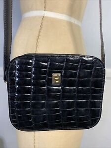 FENDI Vintage Black Patent Leather Alligator Embossed Shoulder Bag